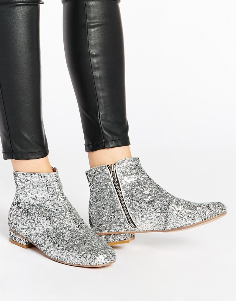 silver glitter boots on offbeat bride
