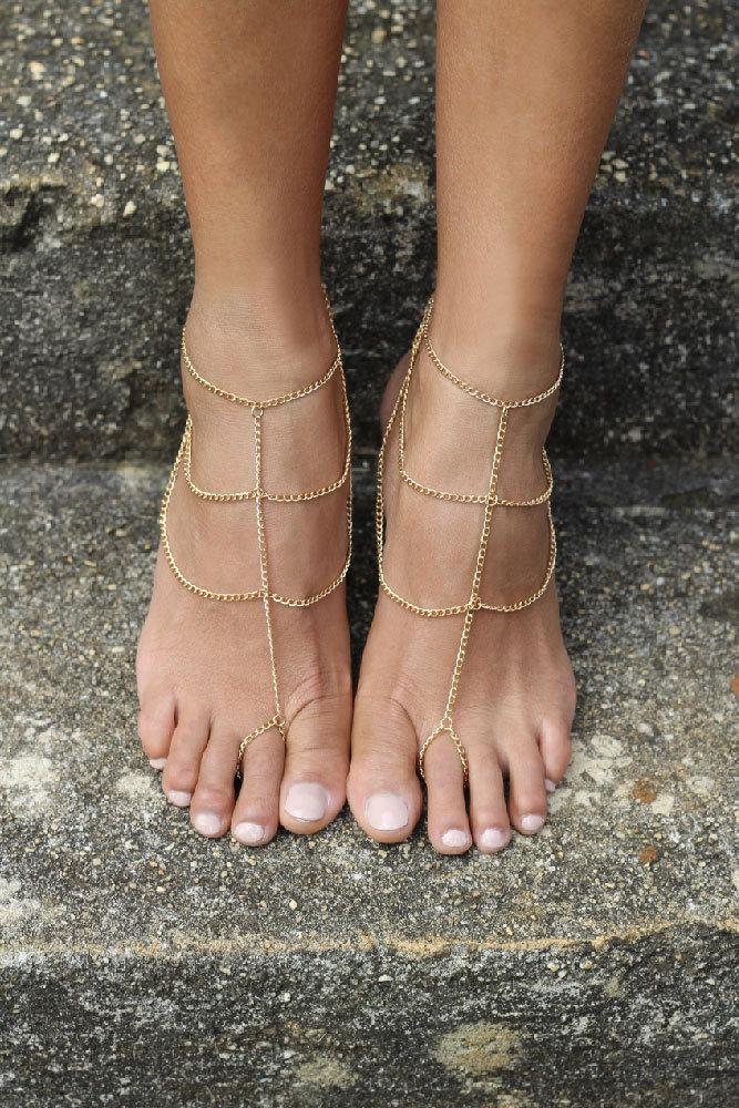 Barefoot sandals for a beach wedding