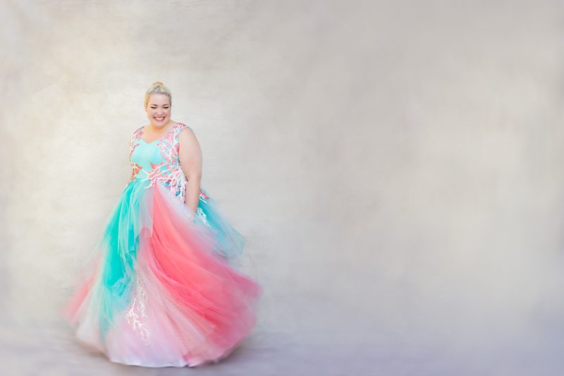 Aqua and pink pastel wedding dress from Zeita Studios