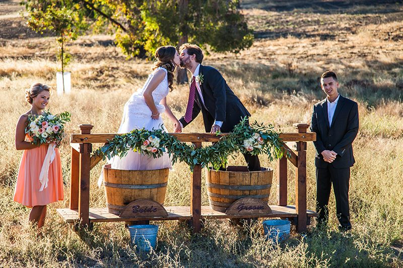 """""""First stomp!"""" Stomp grapes at your wedding to make wine"""