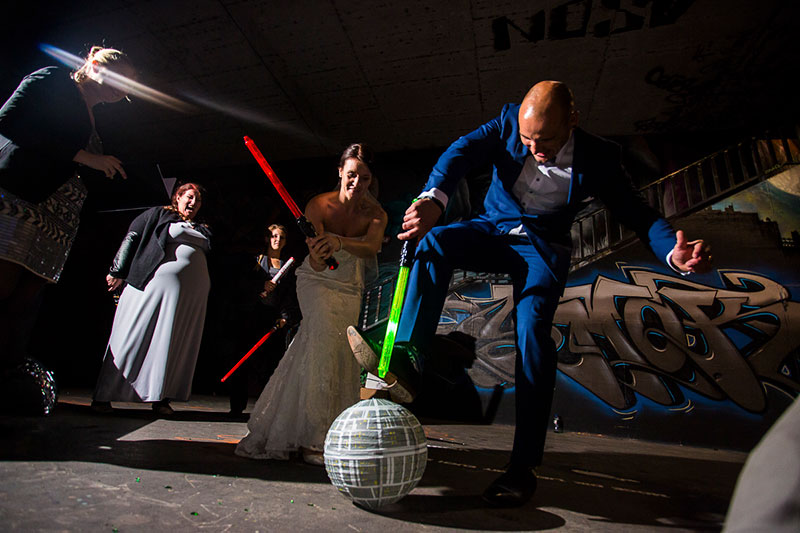 This couple destroyed the Death Star at their Star Wars-themed vow renewal!