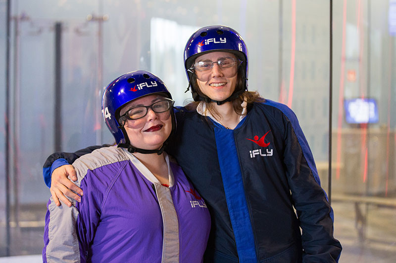 Two daredevils had an indoor skydiving elopement (dressed as pirates!)