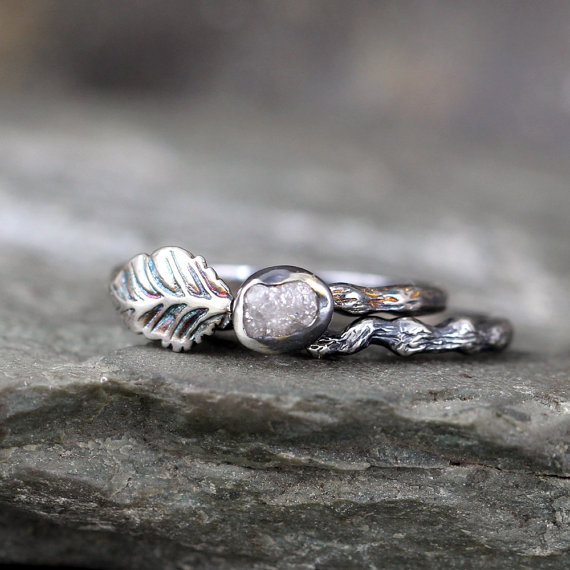 Granola glam: these rough diamond engagement rings will blow your mind