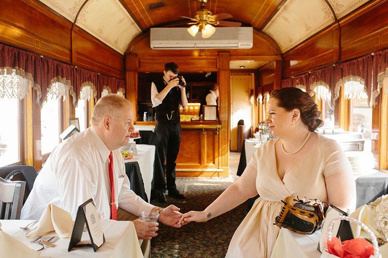 brunch wedding on a train