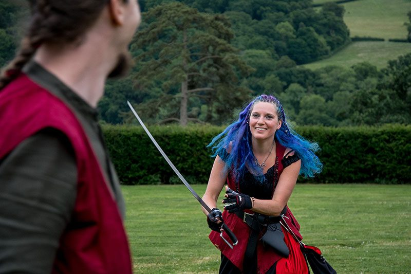 It's not a swords and pirates wedding without vegan food and blue hair!