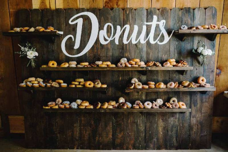 Everything you'll need for a killer wedding donut favor bar
