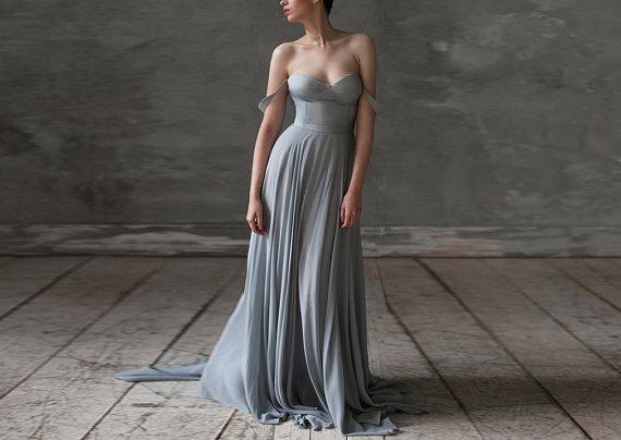 grey wedding dress