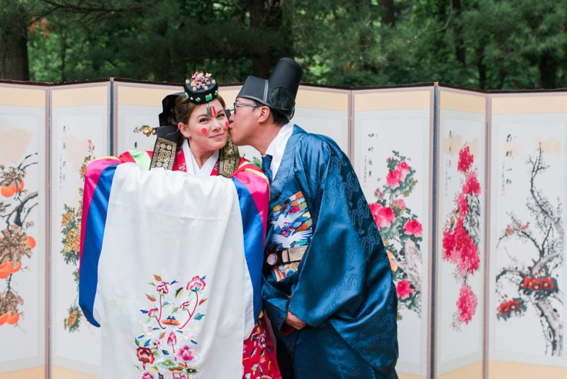 Happily ever campers: this summer camp wedding had a trail mix bar, camp mug favors, and Korean traditions