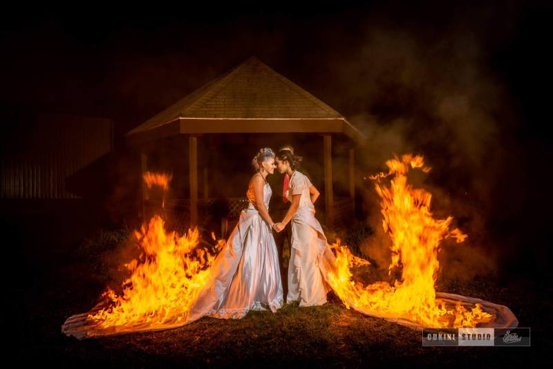 Brides burned their dresses: The hottest wedding ever: a fire & performance themed wedding