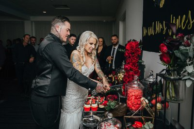 A dark, elegant, black and white goth wedding