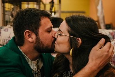 It's vintage love at this quirky thrift shop engagement shoot