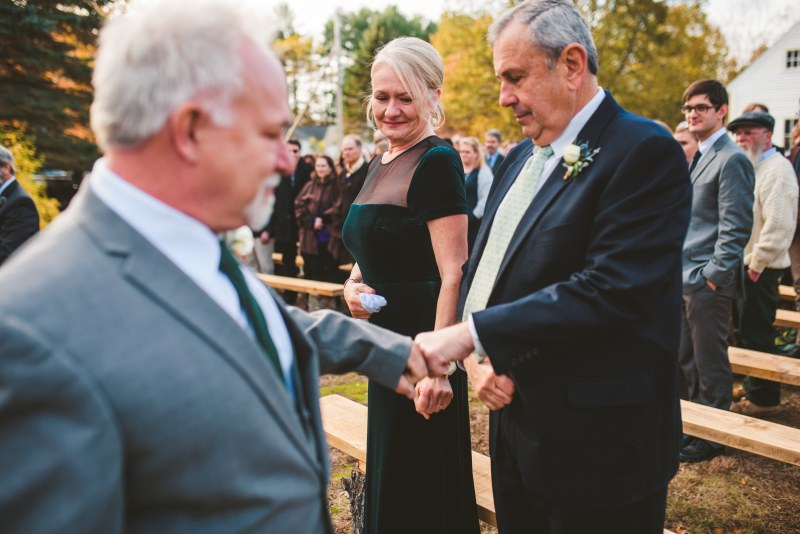 A backyard wedding with dinosaurs, DIY, & a gorgeous gown made by the bride