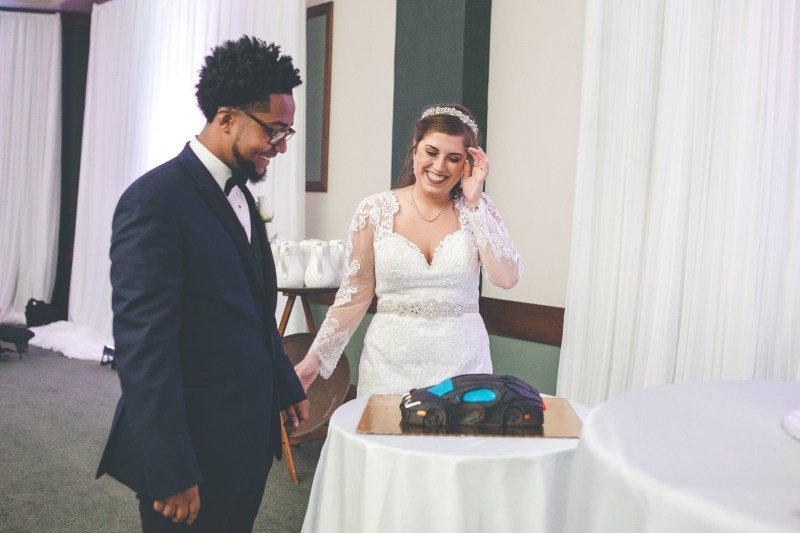 Don't miss the fancy car cake at this glitzy Ohio wedding