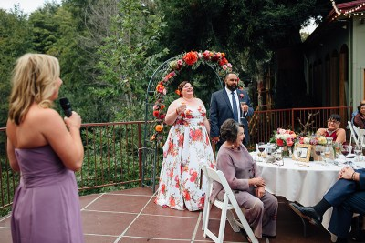 The floral dress at this winery wedding is giving us ALL the flowery romance feels