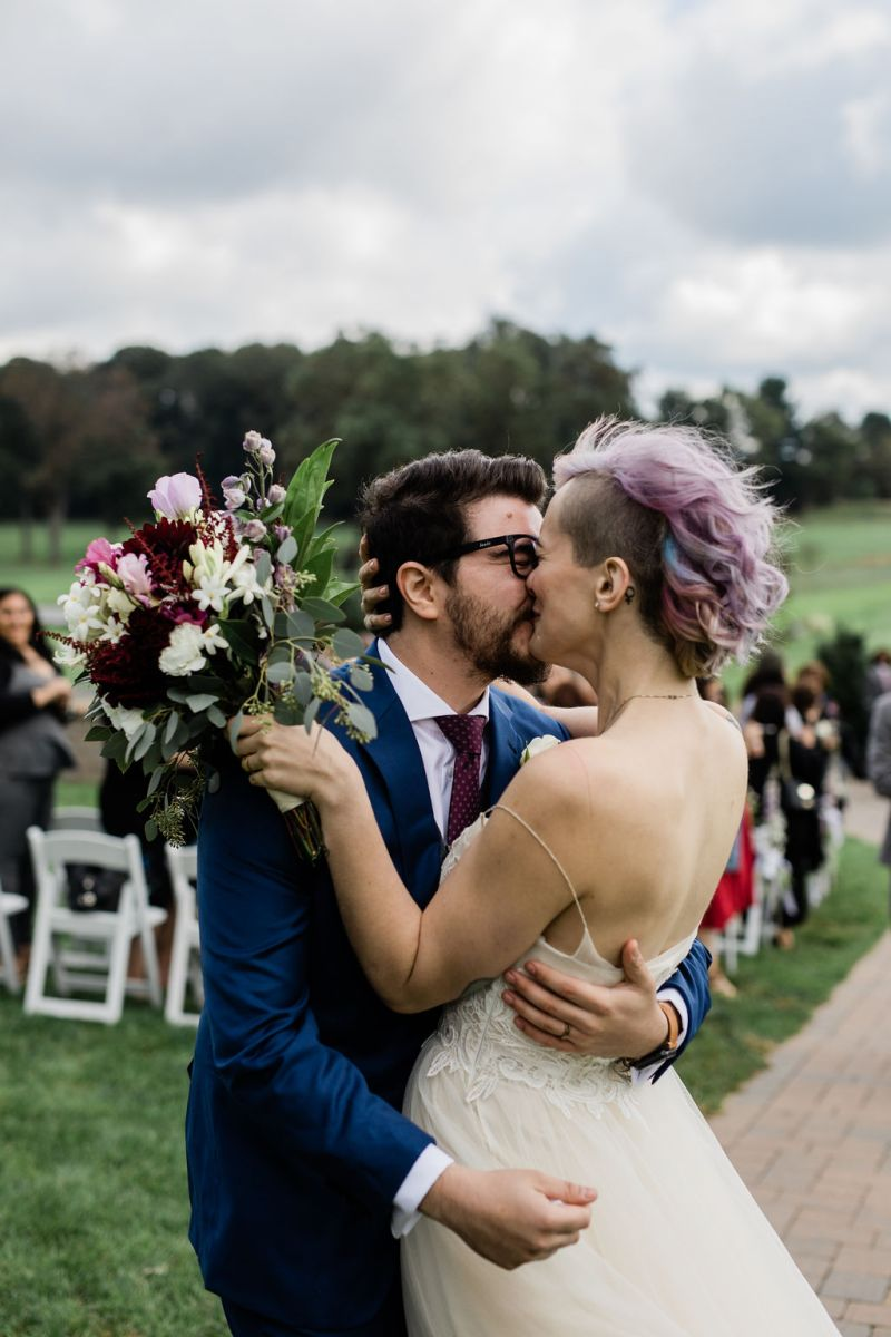 Don't miss the DIYed jacket & glitter Doc Martens at this funky & chic queer wedding