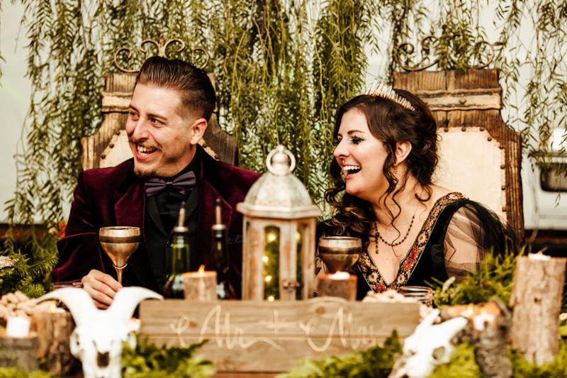 A DIYed darkly romantic wedding with pagan details & vegan fare