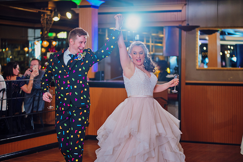 Jewel-toned geekery invades Cloud City at this wedding with a Darth Vader officiant