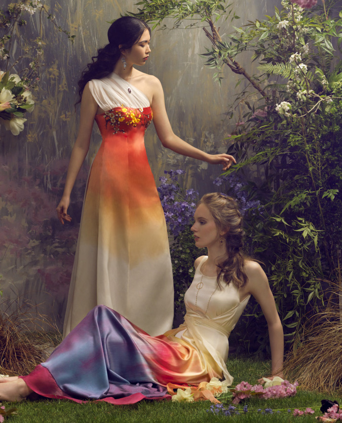 Channel the setting sun with these breathtaking sunset gradient gowns from Wai-Ching