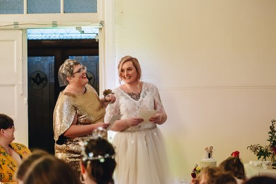 After 14 years of waiting, these Australian ladies finally had the warm, sparkly, relaxed potluck wedding of their dreams
