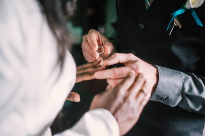 A train ride ceremony and stunning kilts and bridal suits at this Railroad Museum of New England wedding