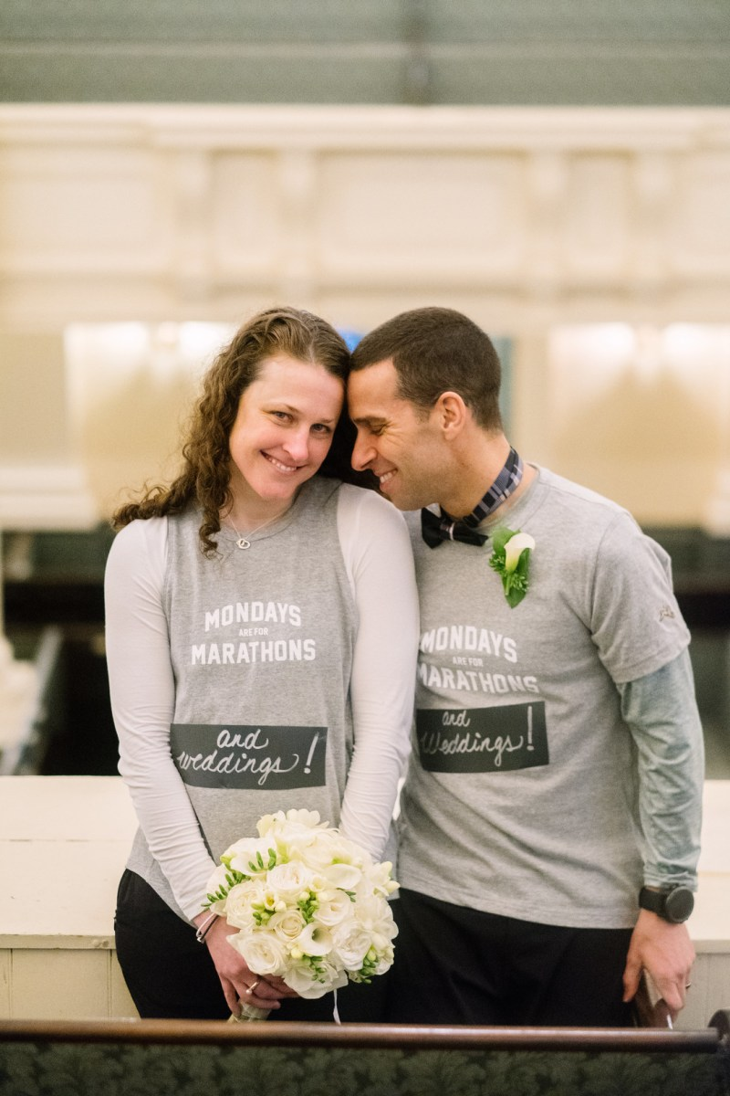 This pair finished the Boston Marathon and went right into their ceremony!