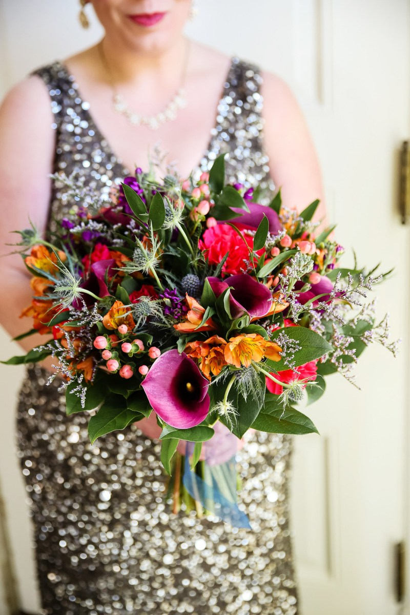 Don't miss the stunning sequin gown at this mansion wedding in Illinois