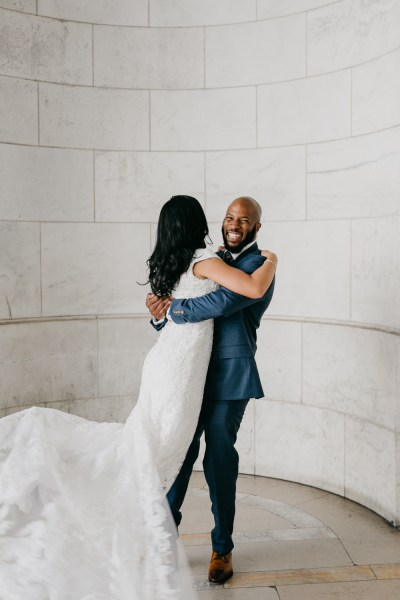 Sunflowers & architectural bliss at this intimate New York Public Library elopement