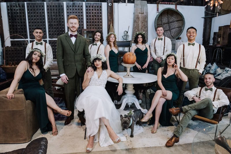 A creative antique store wedding in San Francisco with donuts, a bulldog, & 420