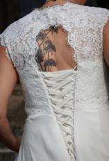 sleeveless lace chiffon wedding dress on offbeat bride