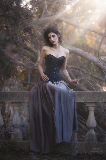 Gothic wedding corset dress