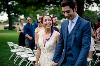 A laid-back, multicultural Olin Park wedding with a surprise dress swap
