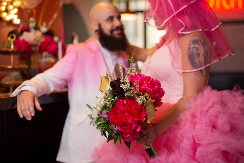 Hot pink carnival meets rainbows & tulle at this Brooklyn vow renewal