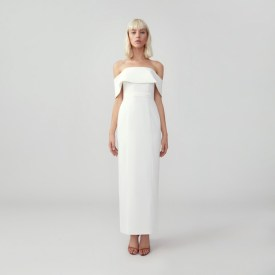fame and partners subtle sweetheart neckline strapless body con wedding dress on offbeat bride