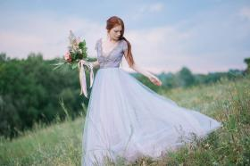 MywonyBridal lavendar wedding dress on offbeat bride