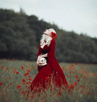 Red velvet wedding gown by Dress Art Mystery