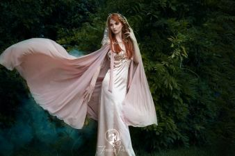 fireflypath elven gown and cape on offbeat bride