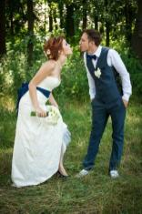 off the shoulder wedding dress by DressArtMystery on Offbeat Bride