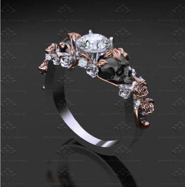 goth wedding rings by Sapphire Studios Design on offbeat bride (1)