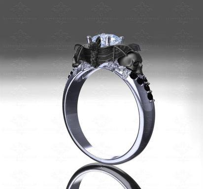 goth wedding rings by Sapphire Studios Design on offbeat bride (2)