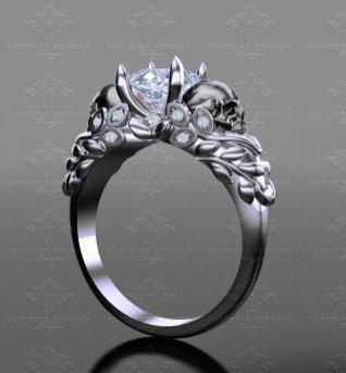 goth wedding rings by Sapphire Studios Design on offbeat bride (9)