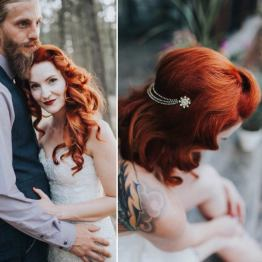rose red rose white hair accessories on offbeat bride