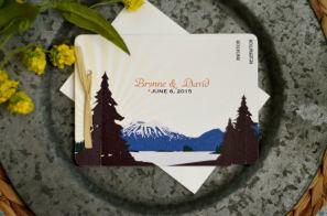 Blue Rustic Mt Edgecumbe Alaskan Mountain Wedding Invitation