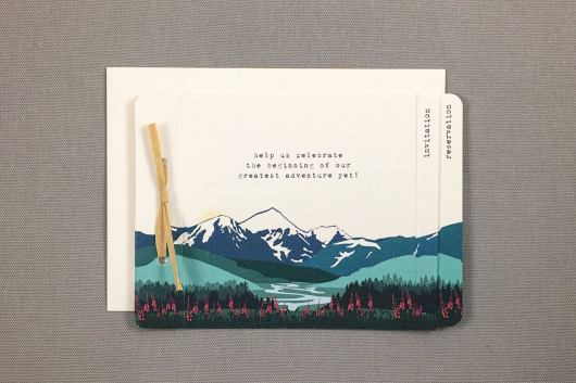 Knik Glacier Alaska with Fireweed Wedding Invitation by Nesting Project Paper on Offbeat Bride