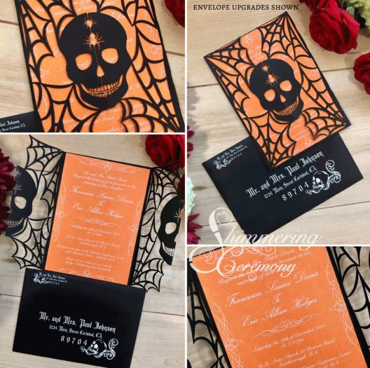 Love these laser-cut halloween wedding invitations from Shimmering Ceremony