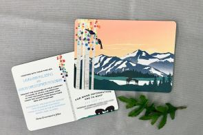 Meier Lake Alaska Mountains at Sunset with Colorful Birch Trees and Kissing Moose 5x7 Wedding Invitation