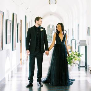 Unique black wedding gown by French Knot on Offbeat Bride