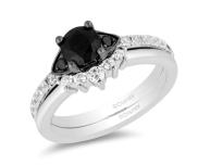 Enchanted Disney Villains Cruella De Vil Enhanced Black Diamond Crown Bridal Set in 14K White Gold on offbeat bride