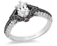 Enchanted Disney Villains Evil Queen Oval Diamond Engagement Ring in 14K White Gold with Black Rhodium
