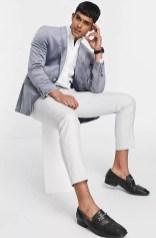 top man velvet wedding suit jacket on offbeat bride