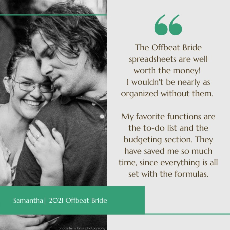 The Offbeat Bride spreadsheets are well worth the money! I wouldn't be nearly as organized without them. My favorite functions are the to-do list and the budgeting section. They have saved me so much time, since everything is all set with the formulas.